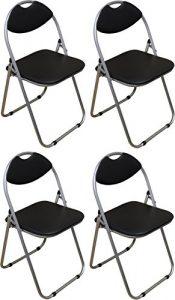 Klappstuhl – gepolstert – Schwarz – 4 Stück