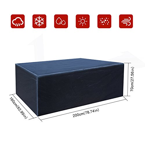 Buzazz Abdeckung für Gartenmöbel Oxford-Gewebe Wasserdicht Staubdicht Anti-UV Schutz Rechteckig Gartenmöbel Schutzhülle für eckige Tische, Sofa, Liege, Stühle - Schwarz(200 x160 x70CM)