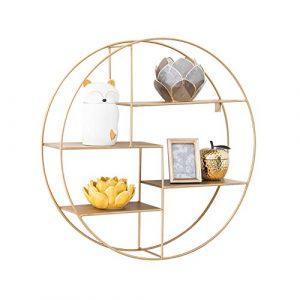 WSSF- Wand-Schmiedeeisen-runder Regal-einfacher kreativer Bücherregal-Blumen-Stand-an der Wand befestigter Schindel-Brett-Wohnzimmer-Speicher-Speicher-Vollenden-Einheits-Ausstellungsstand, 70 * 16.5cm