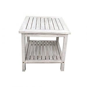 """Beistelltisch aus Holz """"Athene"""" aus Akazienholz perfekt für den Balkon oder als Couchtisch – Massivholz – zwei Ebenen – Gartentisch – Holztisch – vintage – retro – viele Farben – Gitteroptik (Vintageweiß)"""
