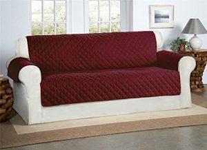 Safari Homeware Burgund/Wein 3-Sitzer Sofa Bezug Couchdeckel – Sofa Couch Gestepptes Möbelschutz