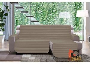 Sofaüberwurf, gesteppt für Sofas mit Halbinsel, Muster Patchwork 190 cm Taupe