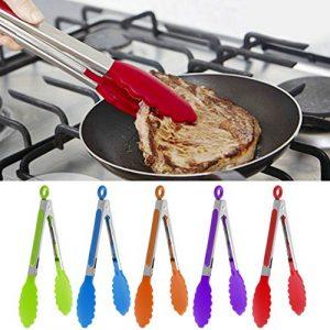 Hergon Küche Premium Silikon Zange Edelstahl Hitzebeständig, Grillzange, BBQ Zange Kochen Zange, Salatzange, Backen Zange, Buffet Zange, Küche Werkzeuge