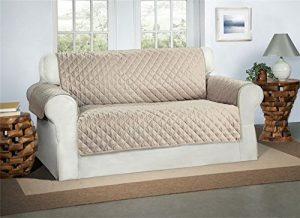Safari Homeware Beige/Creme 2-Sitzer Sofa Bezug Couchdeckel – Sofa Couch Luxus Gestepptes Möbelschutz