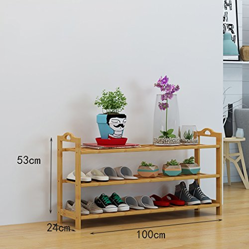 JJXJ Schuh-Rack Bambus-Regale kreative Indoor-Schuhrahmen einfache Haus Schuhschrank moderne Montage Regale Schuhregal (Farbe : A, größe : 100cm)