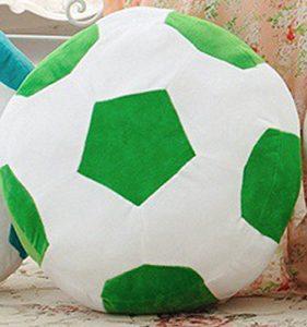 ChezMax Fußball Grün und Weiß Niedlichen Plüsch Dekorative Runde Dekokissen für Home Office Sofa Stofftiere Rücken Kissen Kreative Puppe für Kinder