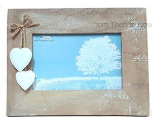 Chic Shabby natur Holz Landschaft 6x 4Stellen Bilderrahmen hängen weiß Herzen