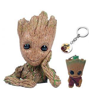 KRUCE 3er Pack Baby Groot Blumentopf Stift Container mit 2 Stück Groot Keychain Anhänger, Wächter der Galaxie Baum Mann Blumentöpfe mit Loch, Action-Figuren Spielzeug Geschenk