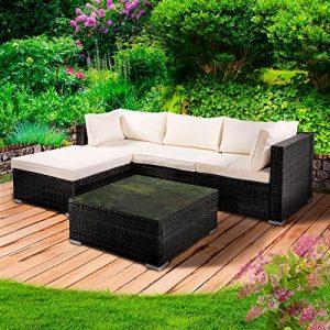 BRAST Poly Rattan Lounge Set Royal Schwarz Gartenmöbel Sitzgruppe Garten Garnitur Essgruppe Tisch Sessel Sofa