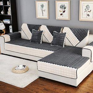 DW&HX Gesteppter Sofabezug Möbel-protector für haustier hund ,3 sitze Volltonfarbe Verdicken sie Sofaüberwurf Anti-rutsch -H 43x83inch(110x210cm)