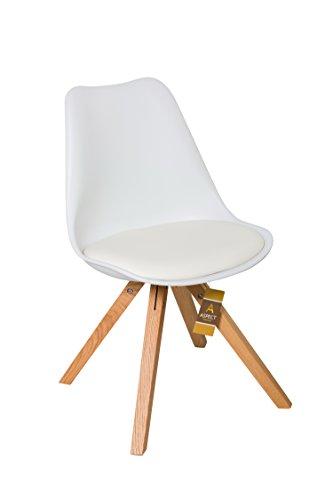 Aspekt Gepolsterte Designer Esstisch/Büro Stuhl mit Sitz/Eiche Beine Massiv Holz, Kunststoff, weiß, 2Stück