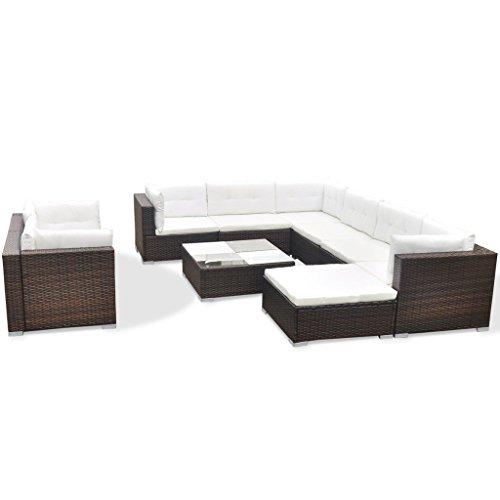 vidaXL Gartenmöbel Set 32-tlg. Poly Rattan Sofa Lounge Sitzgruppe Gartengarnitur