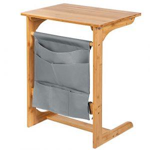 SONGMICS Beistelltisch aus Bambus, Laptoptisch für Sofa, Bett, Couchtisch mit hängender Aufbewahrungstasche, 50 x 62 x 35 cm (B x H x T), naturfarben und grau, LNT53Y