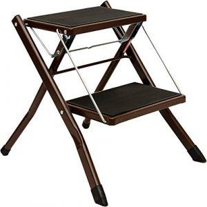 Leiter Hocker Haushaltsleiter Verdickte Einfache zweistufige Leiter Klappschritthocker Pedal Ladder Attic Treppen Stuhl aufsteigende Leiter (Farbe : SCHWARZ)