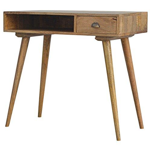 Artisan Möbel Massivholz Nordic 1Schublade Schreibtisch mit Offenem Schlitz, Holz, Eiche Natur/Ish Finish