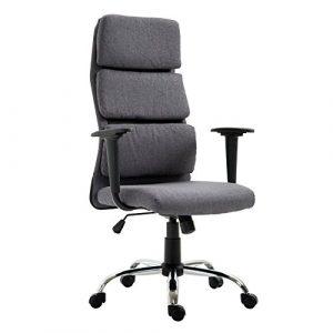 Homcom Bürostuhl Chefsessel Schreibtisch-Drehstuhl Armlehnen Stuhl höhenverstellbar Sitz mit Tilt Funktion–Grau Leinen