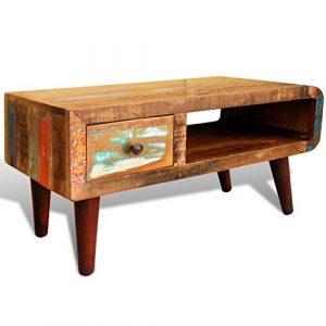 vidaXL wieder Home Möbel Vintage Holz Tee Tisch Couchtisch One Gebogene Kante