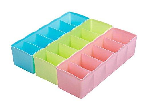 outflower 3Kunststoff Schublade Aufbewahrungsbox Multifunktional Socken Unterwäsche Krawatte Grid Aufbewahrungsbox Schlafzimmer Kleidung Kleiderschrank kann übereinander Aufbewahrungsbox, zufällige