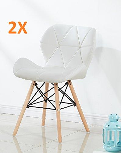 P&N Homewares (Set von 2 Cecilia Eiffel millmead Inspiriert Stuhl aus Kunststoff Retro Weiß Schwarz Grau Rot Esszimmerstuhl Büro Stuhl Lounge weiß