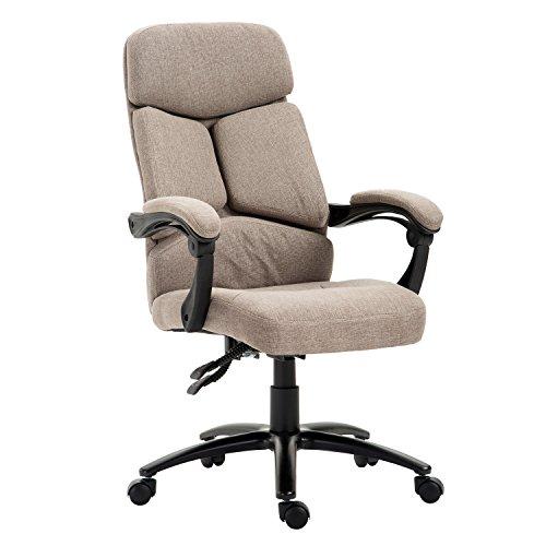 Homcom Hohe Rückenlehne Drehstuhl verstellbar Leinen Computer Sitz Executive Armlehnen Stuhl Home Office Möbel Swivel Light Braun