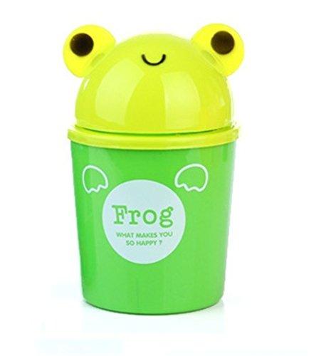 mackur Creative Cartoon Tiere Kunststoff Desktop Trash kann für Büro Schreibtisch 1 11*18 cm Grüner Frosch