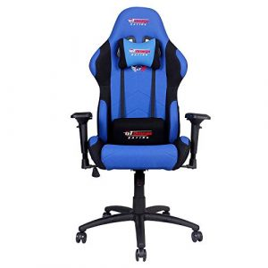 GT Omega Pro Bürostuhl Racing blau und schwarz Stoff