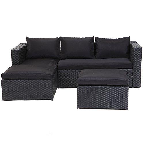 Grand Patio Outdoor Rattan Weiden Sofa Set Garten Patio Möbel gepolsterte Schnitt Konversation Sets-einfach montiert (schwarz, 3 Stück)