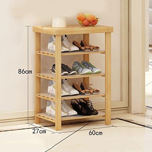 CDbl 4-Tier Natur Bambus Holz Einfache Schuhregal Regal Halter Speicherorganisator für Flur Badezimmer Wohnzimmer (Multi-Size) Schuhregale für Schränke (Größe : 60 * 27 * 86CM)
