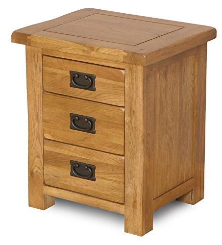 UKG Rustikale Solide Eiche Nachttisch-Set von 3Schubladen Schlafzimmer Möbel 50x 41x 60