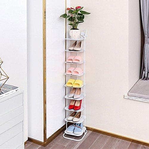 CXZS-shoe rack Staubdichter Mehrschichtiger Schuhschrank aus Metall, einfacher Kleiner Schuhschrank, Economy Home Living Room Schmiedeeiserner Schuhregal, Zehenlagig, Weiß