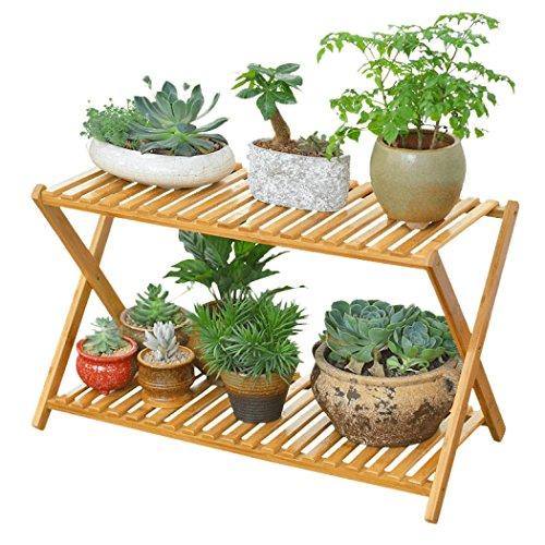 2 Tier Folding Bambus Holz Pflanzenständer Display Schuhregal für Indoor Outdoor Garten Gewächshaus, 70x30x48cm