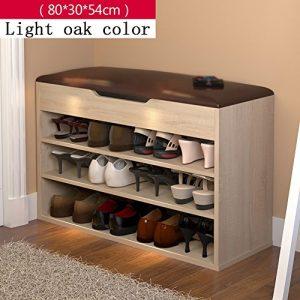 Schuhe Bank Schuhe Rack Schuhe Regal Schuhe Cabinet Storage Hocker Sofa Storage Bench Hocker Shoebox (Farbe : Light oak color, größe : L 80*H 54cm)