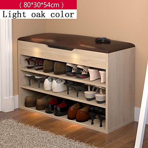 Schuhe Bank Schuhe Rack Schuhe Regal Schuhe Cabinet Storage Hocker Sofa Storage Bench Hocker Shoebox (Farbe : Light oak color, größe : L 80*H 54cm)