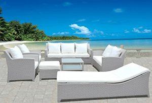 Design Gartenmöbel Lounge Sitzgruppe Polyrattan aus Doppelsofa, 3er Sofa, Sessel, Liege, Hocker & Tisch, Fertig montiert!