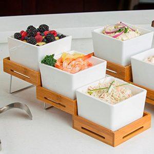 Tablecraft Stufenset mit 3 Etagen für Buffet, Bambus, erweiterbar, Schwarz