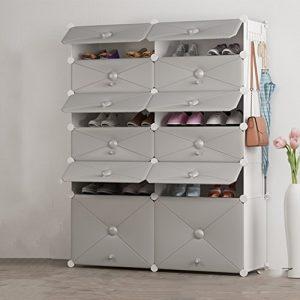 WEN HUI DIY Schuhregal, 12Würfel Kunststoff Modular freistehend Lagerung Organizer Tragbarer Schuhe Schrank Bücherregal mit Türen Schuh Ständer Regal platzsparend Grau