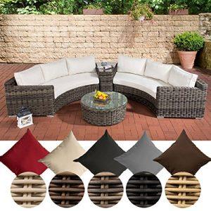 CLP Poly-Rattan Garten Lounge Set rund, BARBADOS, 2x 3er-Sofa, Glastisch rund Ø 80 cm, 6 Sitzplätze Bezugfarbe cremeweiss, Rattan Farbe grau-meliert