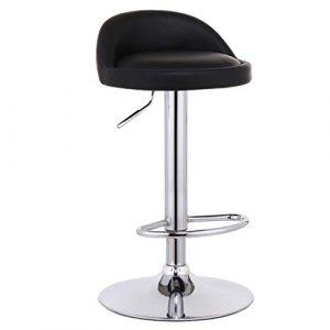 WQZB-Drehstuhl Barhocker Stuhl Fußstütze mit Round Black PU Sitz Rückenlehne Verstellbare Swivel Gas Lift 60~80cm für Frühstück Pub Café Barhocker 41cm verchromter Tellerfuß max. Laden Sie 150 kg