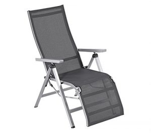 Dehner Relaxsessel Macon, ca. 112 x 76.5 x 60 cm, Aluminium/Textilene, schwarz/silber