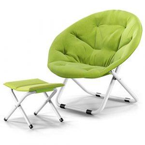 LiPengTaoShop Klappstuhl Lazy Chair runder Radarstuhl Klappbarer Sitz mit Rückenlehne A++ (Color : Green, Size : 80 * 76 * 51cm)