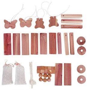 Sharplace 40x Zedernholz in Verschiedenen Formen Natürlicher Mottenschutz für Kleiderschrank Kleideraufbewahrung