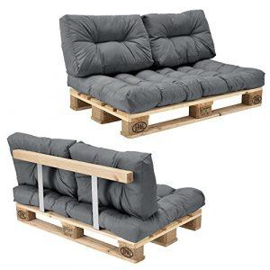 [en.casa] Euro Paletten-Sofa – DIY Möbel – Indoor Sofa mit Paletten-Kissen / Ideal für Wohnzimmer – Wintergarten (1 x Sitzauflage und 2 x Rückenkissen) Grau inkl. 1 Europalette + Rückenlehne