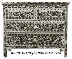 Luxury Handicrafts Mother of Pearl Inlay Blumen Kommode Vier Schublade Handwerk schwarz
