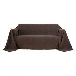 Deconovo Bettüberwurf Sofa Überwurf Sesselbezug Tagesdecke Wildleder Optik 210×280 cm Dunkelbraun