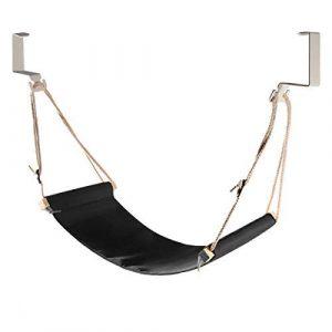 DMcore Leinwand Fußstütze Hängematte, verstellbares Mini Fußstütze Ständer unter dem Schreibtisch für Zuhause und Büro schwarz