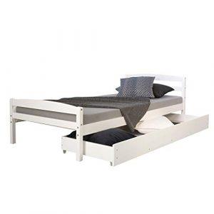 Homestyle4u 1413 Holzbett Kiefer massiv , Einzelbett aus Bettgestell mit Lattenrost und Bettkasten , 90×200 cm , Weiß