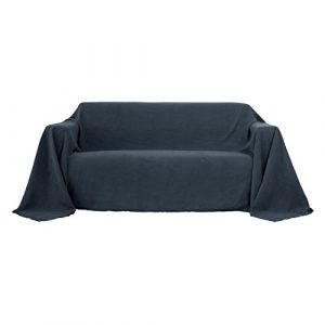 Deconovo Sofa Überwurf Bettüberwurf Sesselbezug Tagesdecke Wildleder Optik 210×280 cm Anthrazit