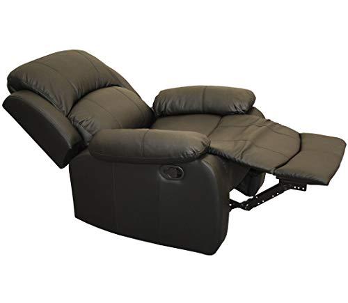 KMH®, Relaxsessel/Fernsehsessel *Prag* - schwarz (Kunstlederbezug/verstellbar) (#204670)