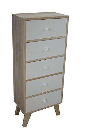 King Home c1708005Kommode 5Schubladen aus Paulownia Holz mit Füßen in KD, 40x 25x 99,5h