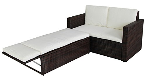 SVITA Poly Rattan Lounge Gartenset Sofa Garnitur Polyrattan Gartenmöbel (Braun)